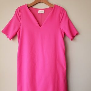 Everly hot pink cocktail dress w scalloped edges
